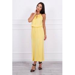 Dlhé žlté šaty s rozparkom