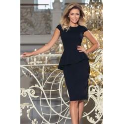 Čierne midi šaty s volánikom