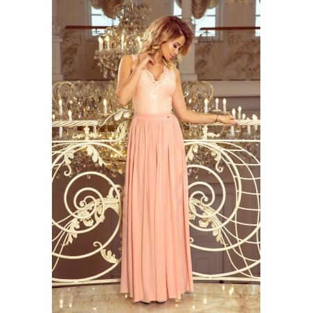Dlhé svetlo ružové šaty LEA