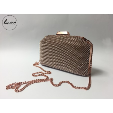 Champagne spoločenská kabelka s kamienkami