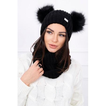 Komplet-Čierna čiapka s dvoma brmbolcami a šálom