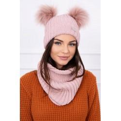 Komplet-Ružová čiapka s...