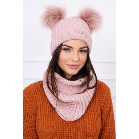 Komplet-Ružová čiapka s dvomi brmbolcami a šálom