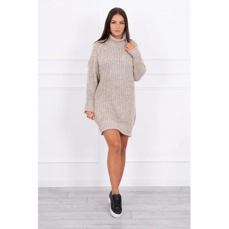 Béžové úpletové rolakové šaty/sveter