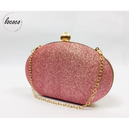 Luxusná ružová trblietavá spoločenská kabelka