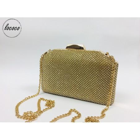 Zlatá vykladaná spoločenská kabelka