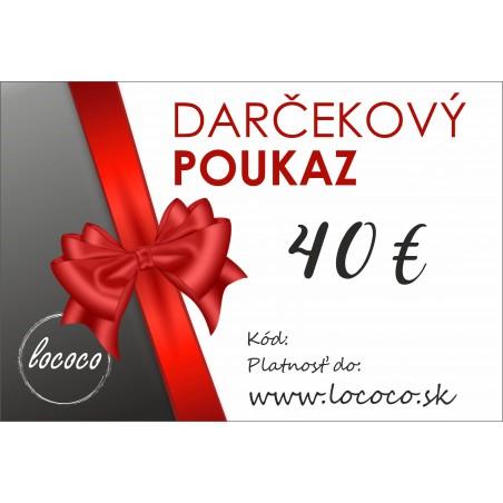 Darčekový poukaz 40€-Zaslanie e-mailom