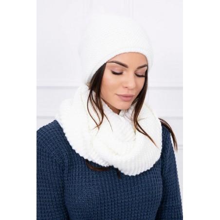 Komplet-Biela čiapka s brmbolcom a šálom
