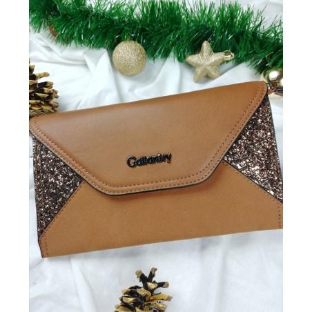 Hnedá listová trblietavá kabelka Gallantry Paris