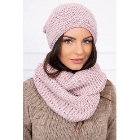 Komplet-Svetloružová čiapka s brmbolcom a šálom