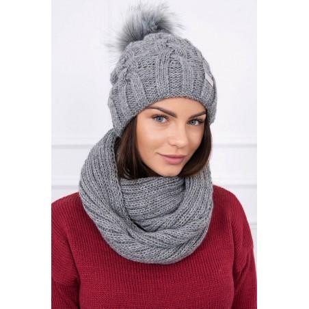 Komplet-Sivá čiapka s brmbolcom a šálom